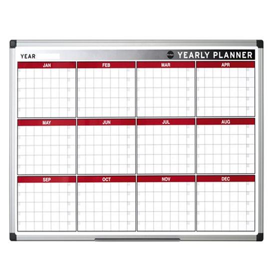 Year Calendar Whiteboard : Month annual planner magnetic drywipe office supplies