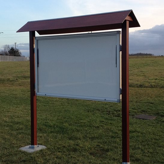 Trail external notice board with wooden canopy notice board company outdoor display cases for Exterior display case