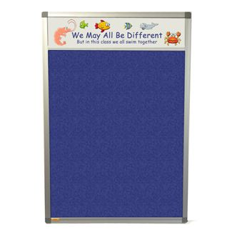 Slimline Polycolour Notice Board with Title Plate