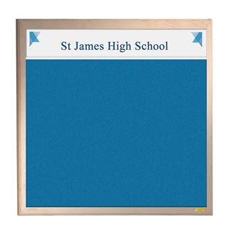 Wooden Framed Felt Notice Board with Title Plate