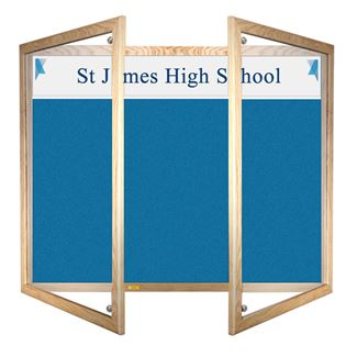 Wooden Framed Lockable Felt Notice Board with Title Plate
