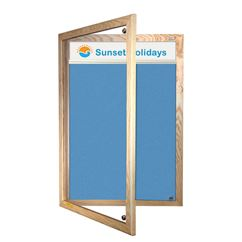 Wooden Framed Lockable Sundeala Notice Board with Title Plate