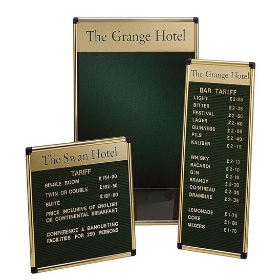 Foyer Grooved Felt Board with Title Plate - Polished Frame