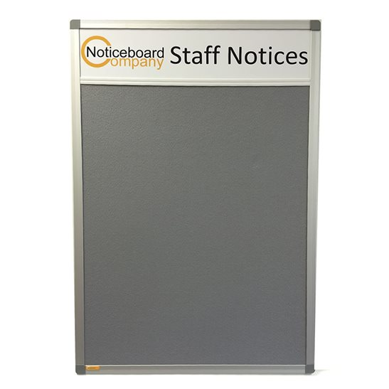 Slimline Cara Notice Board with Title Plate