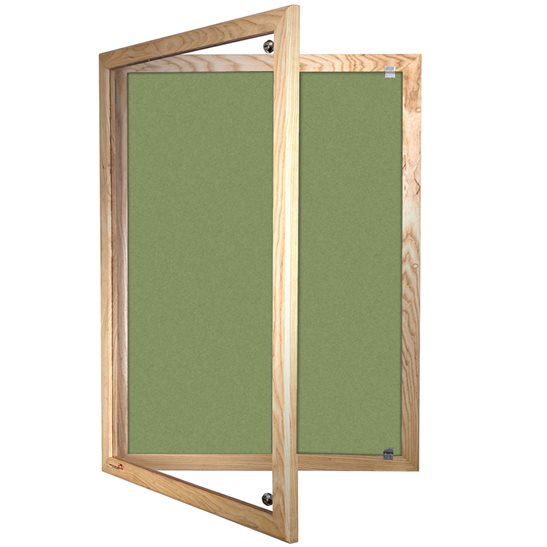 Solid Wood Framed Lockable Forbo Bulletin Board