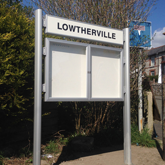Dual Door 1000 Post Mounted External Notice Board