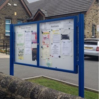 Dual Door 1000 Post Mounted External Notice Board - Painted Frame