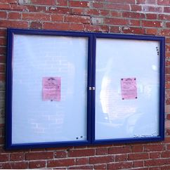 Dual Door 1000 Wall Mounted External Notice Board - Painted Frame