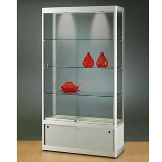 Glass Display Case with Storage