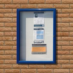 Tradition 30 External Notice Board - Blue Frame - Holds 6 x A4